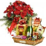 4stella di natale rossa con cesto natalizio